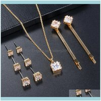 & Jewelryfashion Women Crystal Vintage Piercing Gold Earrings Necklace Hair Clip Jewelry Sets Sexy Aesthetic Bijoux Femme Drop Delivery 2021