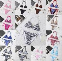 Designer Swimsuit Mulheres Vintage Retro Tanga Micro Cover Up Womens Bikini Set Push Swimwear Alto Cintura Impresso Ternos de Banho De Verão Vestimento Natação
