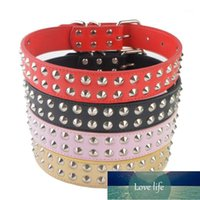 Dog Collars & Leashes Fashion Two Rows Spikes Studded Collar Pu Leather For Big Dogs Pet Supplies Size L XL Adjustable 18-22''1 Factory price expert design Quality Latest