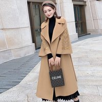 Women's Wool & Blends Women Coat Long Soft Belted 2021 Autumn And Winter Style Suit Lapel Double-Sided Cashmere