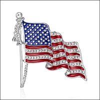 Pins, Jewelryamerican Flag Badge Brooch Shiny Rhinestone Pendant Enamel Pins Brooches Women Men Lapel Pin Jewelry Gift Drop Delivery 2021 Gj