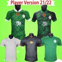 Jogador versão 2021 2022 Argélia Jersey Jersey Argélia 21 22 Mahrez Atal Feghouli Slimani Brahimi Away Black Branco Verde Bennacer Adulto Homens Futebol Camisa S-2XL
