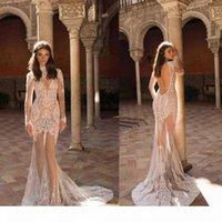 Lace 2020 Mermaid Wedding Dresses Berta High Neck Appliques Illusion Skirt Long Sleeves Boho Bride Dress