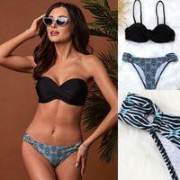 Kadın Mayo Seashy Vintage Bikinis Mayo Kadınlar İki Parçalı Bikini Kravat Boya Tanga Klasik Pileli Top Plaj Banyo Beachwear S ~ 2XL
