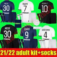 Maillots Football Kits pour adultes 2021 2022 Jerseys de football Paris 21 22 Messi Sergio Ramos Mbappe Icardi Neymar Shirt JR Verratti Hommes Kit Ensembles Maillot de pied