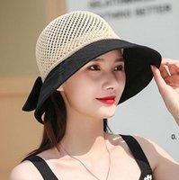 Women Beach Caps Bowknot Hollow Stitching Knitted Wide Brim Hats Spliced Fisherman Hat Spring Summer Foldable Sunhat Sun FWB7160