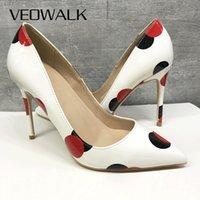 Veoowalk Polka Dot imprimé Femmes Brevet Slip sur les talons hauts Taille 33-45 Élégantes pompes pour femmes de mariage Bridemaids Stiletto Chaussures 210428