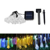 6 M RGB Çim Lambası Güneş Paneli ile, Su Damlası DIY Peri Gece Sokak Bahçesi için, IP65 Açık Manzara Çit Dekor Dize Lambaları