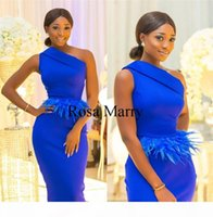 Royal Blue Feather Short Cheap Cocktail Party Dresses 2020 Sheath One Shoulder Plus Knee African Arabic Formal Evening Prom Party Gowns