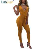 Оптом- haoyuan сексуальные комбинезоны без спинки bodycon deep-v body body bodysuit летний комбинезон комбинезон комбинезон женщины комбинированные Femme