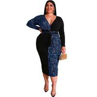 Plus Size Dresses For Women 4xl 5xl Long Club Bodycon Party Dress Clubwear Big Large Oversize Leopard Patchwork