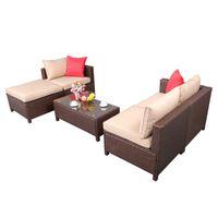 EUA Stock 3 parcelas de combinação livre de 5 peças conjunto de rattan sofá pendurado pernas 2 cantos 1 sofá sem braços 1 pé arrastar 1 mesa de café retangular marrom