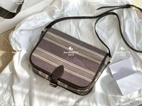 2021 Classic Messenger Bags Pure color stripe design embroidered letter pattern luxury brown leather frame large capacity soft and exquisite slanting bag