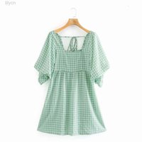 green French Dresses Retro Niche Light checkered print square neck puffy sleeve back lace dress woman Women Clothing