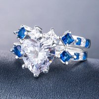 Wedding Rings Romantic Heart Shape Ring 2pcs set White Zircon Size 6-10 Women Lover Couple Gift