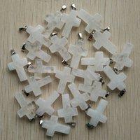 Colgantes de la cruz de la cruz de piedra de cristal druxzy blanca para el collar que hace la joyería