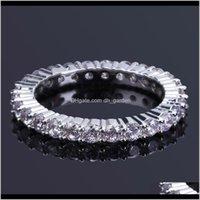 Белые позолоченные полные CZ Zirconia теннисный палец алмазный хип-хоп рок рэн украшенные подарки для мужчин и женщин Размер 811 FN5VV кластер 87es1