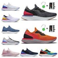 Con calze Epic React Fly Knit Mens Donne da uomo Scarpe da corsa Tutto Bianco Grigio Brown Peltro Belgio Primo Belgio Sports Sneakers formatori taglia 36-45