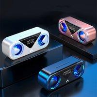 MC-H9 Bluetooth Speaker Wireless Bass Stereo LED Display Alarm Clock Home Mobile Phone Mini Audio Subwoofer 3000mAh Smart Volume Dual Speakers