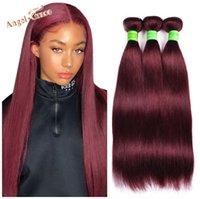 Human Hair Bulks Angel Grace Brazilian Straight Bundles 99J Color 100% 100g pc 1 3 4 Remy Extensions 10-28 Inch