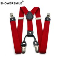 Showersmile 붉은 베레모 남자 클래식 y 다시 120cm 캐주얼 레트로 Broek 브레이스 4 클립 탄성 남성 Jarret 벨트