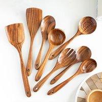 مجموعة أدوات المطبخ مجموعة أدوات طبخ خشبية خشبية بأواني طبخ البني ملعقة مجرفة ملعقة الحساء الملاعق مصفاة بالجملة EWA5203