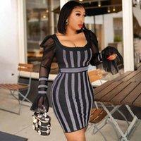 Ethnic Clothing 2021 African Women Sexy Bodycon Dresses Rhinestone Diamond Black Dress 5XL Plus Size Long Sleeve Elegant Vintage Party Gowns