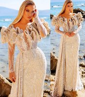 2021 Plus Size Arabic Aso Ebi Luxurious Lace Sexy Prom Dresses Beaded Long Sleeves Stylish Evening Formal Party Second Reception Gowns Dress ZJ330