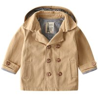 Boys Tench Coats Kids Trench Coat Children Jackets Baby Clothes Clothing Spring Autumn Cotton Long Sleeve Hoodies Outwear 2-6Y B5435