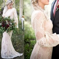 Vintage Boho Wedding Dress For Women Mermaid 2021 robe de mariée Long Sleeve Gowns Bohemian Lace Bridal Dresses