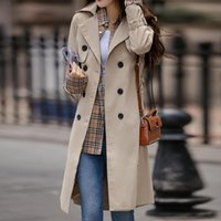 Women's Trench Coats Real S Mid-length Windbreaker Temperament Waist Style Coat Western Women Clothes