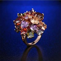 Wedding Rings Fashion Multicolor Zircon Ring Size 6-9 For Women Party