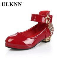 ULKNN Red Low Heel Shoes For Girls Princess Leather Shoes Dance Wedding School Children Casual Shoe Kids Dress Round Toe Shoe 210306 bNU