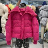 OFTBUY 2021 New Winter Jacket Women 90% White Duck Down Coat Knitted Mink Wool Collar And Cuffs Loose Warm Outerwear Streetwear