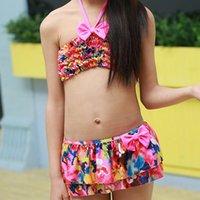 One-Piece Suits Girls Kids Bikini Girls Split Type Swimsuits Rose Red Yellow Flowers Swimwears Promotion