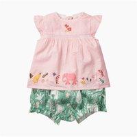 Little Maven Girl Anzüge Elefant Tier Baumwolle Baby Mädchen Kleidung Sets Für Sommer Kinder Outfits Anzüge 1 stücke Hemd + Hosen 210326