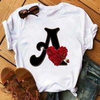 Benutzerdefinierte Name Briefkombination T-Shirt Blumenbriefschrift Schrift A B C D E F G Kurzarm Kleidung Frau T-Stück Tops X0527