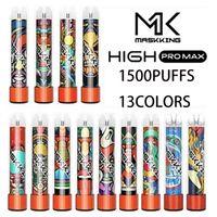 Matsking High Pro Max Одноразовые Vape Electronic Cigarettes 1500 Puffs 4.5 мл Картридж готов к использованию прозрачный мундштук 13 цвета паров оптом
