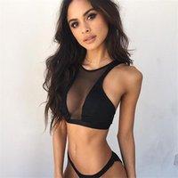 Women's Tanks & Camis Ladies Fashion Sleeveless Vest Tank Tops Sexy Hollow Perspective Crop Net Yarn Splicing Black