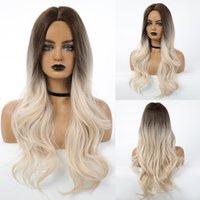 Lange Körperwelle Perücken Ombre Braun Licht Blondes Platin Mitte Teilen Perücke Für Frauen Cosplay Natürliche Hitzebeständige Synthetische Haarfaktorie direkt