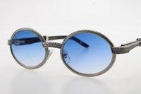 2021 돌 검은 경적 새로운 안경 7550178 골드 라운드 빈티지 유니섹스 작은 고품질 선글라스 큰 버팔로 핫 C 장식 Sungl FXBK