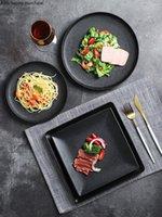 Yemekler Tabaklar Nordic Siyah Dantel Seramik Yemek Tabağı Ev Pişirme Salata Makarna Buzlu Biftek Mutfak Eşyaları Porselen Dekorasyon