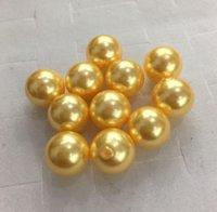 8-16 ملليمتر الذهبي الكمال دائرة عميق البحر الأم شل بيرل نصف حفرة فضفاض الخرز