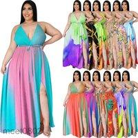 Женщины повседневные платья 2021 летние новые дизайнерские моды женские богемное платье Deep v Открыть задний сплит градиент без рукавов флористическая юбка до пола юбка
