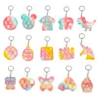 Cute Decompression Toy Keychain Simple Dimple Mini Key Ring Trinket Keyfob Silicone Fidgets Toys Dinosaur Mouse Bear Animal Key-Pendant