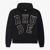 2021 Black Rhude Hoodie Hommes Femmes De Haute Qualité Tournette À Capuche Broderie Sweatshirts Solid Pull