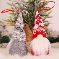 Knit Christmas doll hangs Beard Red Elf Christmas tree hangs xmas Decorations Festive Party Home decor drop ship