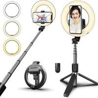 Drahtloser Bluetooth-Selfie-Stick Faltbarer Hand-Fernbedienungsstativ mit 5-Zoll-LED-Ring-Pogografie-Lichtmonopoden