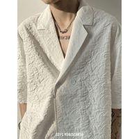 Men's Casual Shirts 2021 Summer Slant Button Half Sleeve Minority Embossed Pattern Pajama Collar Loose Lazy Wind Short Shirt