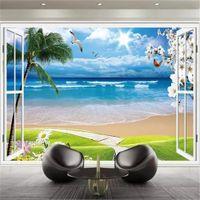 창문에서 현대적인 사용자 정의 3D 벽지 자연과 명확한 아름다운 바다보기 거실 TV 배경 벽면 벽지